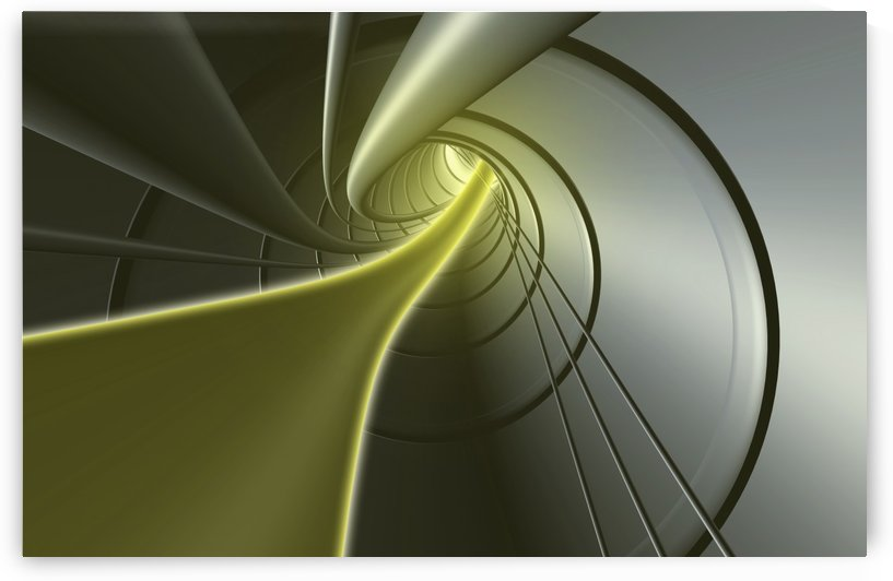 Computer Generated Strands Coming From A Tunnel In Yellow And Grey by PacificStock