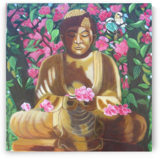 buddha under a flowering tree by Gloria Gill