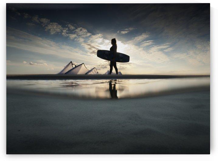 A Kitesurfer Walks Along The Beach At Sunset; Tarifa, Cadiz, Andalusia, Spain by PacificStock