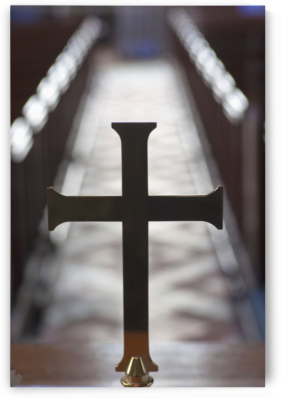 A Cross In Line With A Centre Aisle In A Church; Staindrop, Durham, England by PacificStock