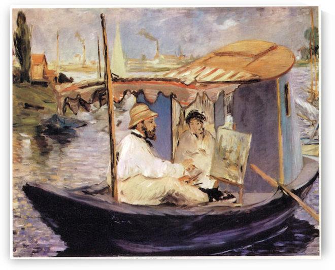 Claude_Monet_dans_son_bateau_atelier_1874 by Manet by Manet
