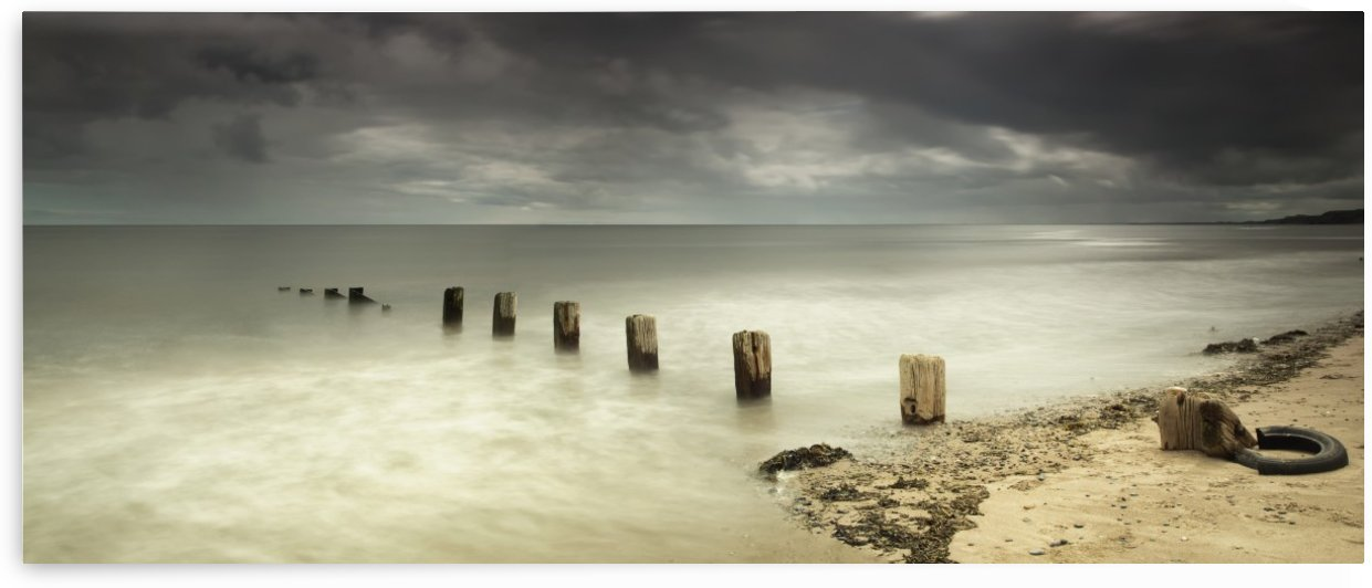 Wooden posts submerged in the water off a beach;Berwick northumberland england by PacificStock