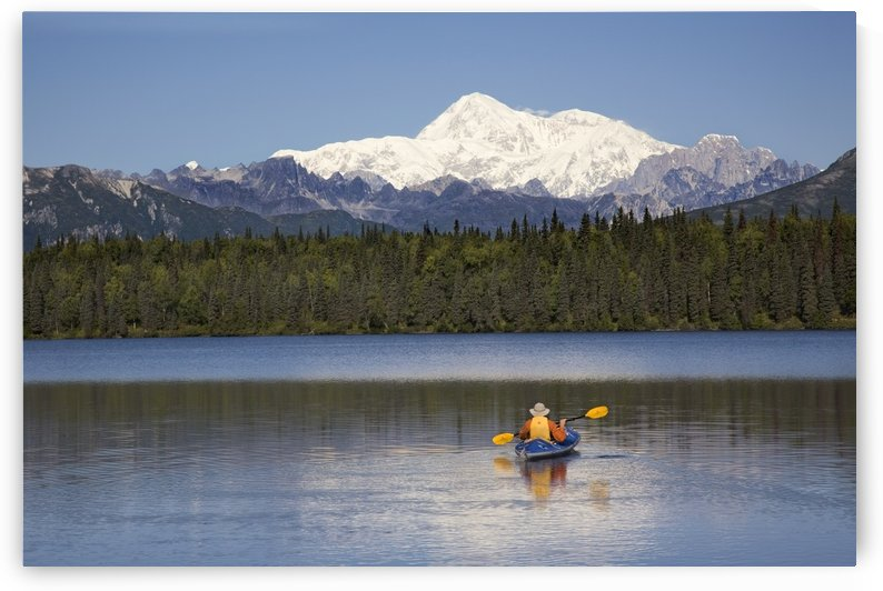 Man Paddling A Klepper Kayak On Byers Lake At Denali State Park. Mt. Mckinley Is Visible In The Background. August. Summer In The Interio Of Alaska. by PacificStock