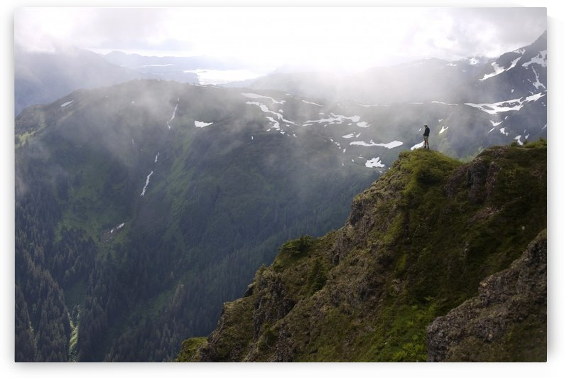 Hiker On Eagle Peak Promontory Admiralty Island Tongass National Forest Southeast Alaska Summer by PacificStock