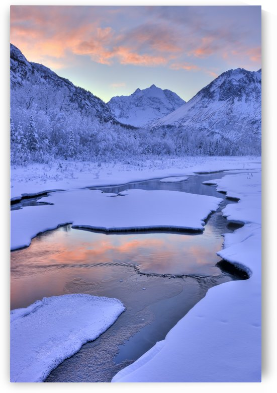 Colorful Sunrise Over A Stream At The Eagle River Nature Center In Chugach State Park, Southcentral Alaska, Winter, Hdr by PacificStock