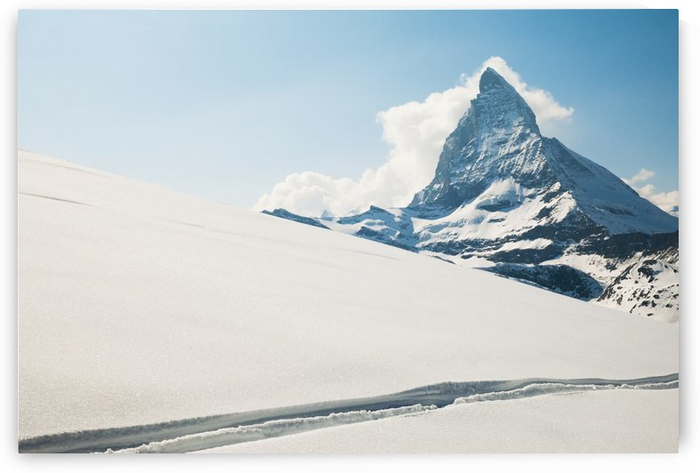 View of the matterhorn from a snow covered plateau;Zermatt switzerland by PacificStock