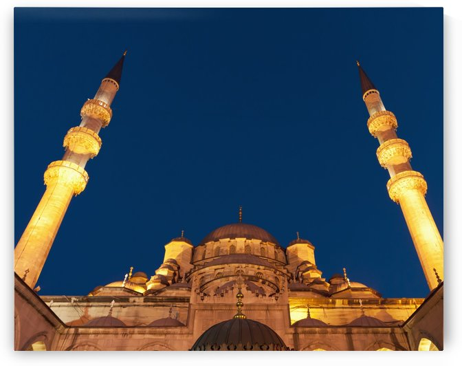 Low angle view of mosque of the valide sultan at night;Istanbul turkey by PacificStock