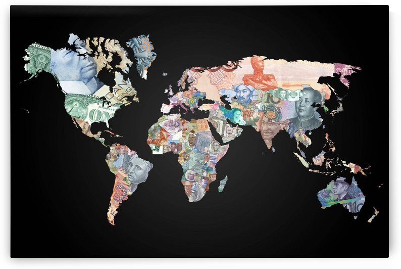 World map currencies by WorldFlag