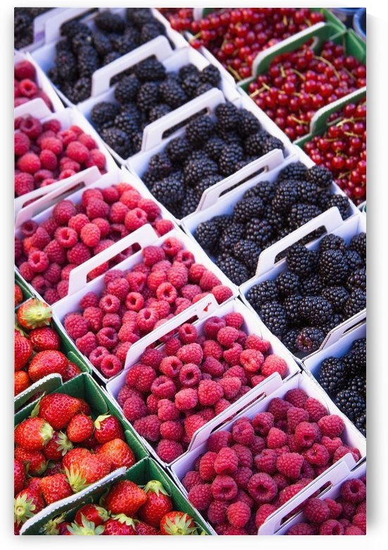 Berries in boxes at a food market;Sault vaucluse provence france by PacificStock