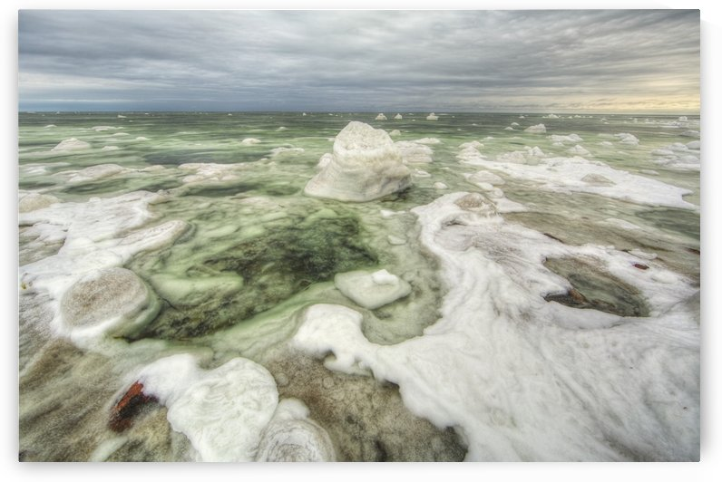 The green ice filled water of hudson's bay;Manitoba canada by PacificStock