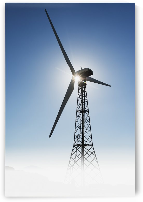 Sunlight illuminating a wind turbine;Tarifa cadiz andalusia spain by PacificStock