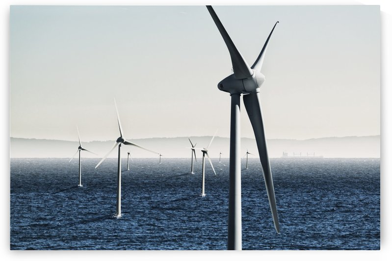 Digital composite of wind turbines on the water;Tarifa cadiz andalusia spain by PacificStock