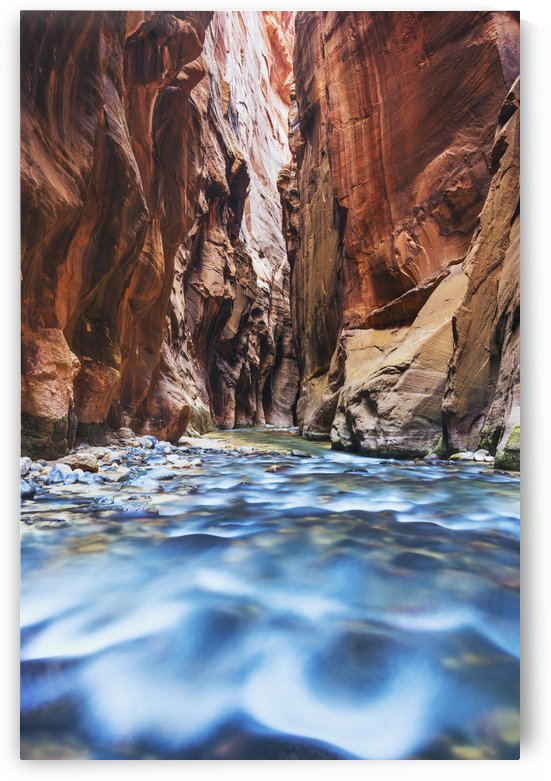 Sunlight reflecting in the virgin river narrows in zion national park;Utah, united states of america by PacificStock