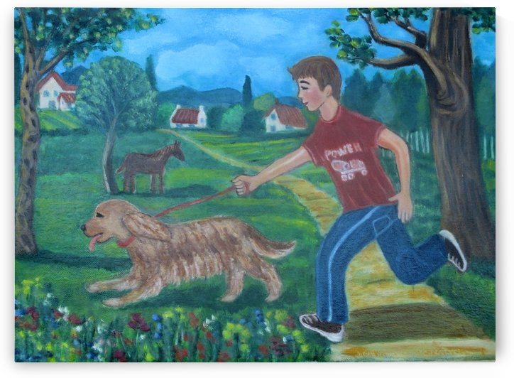 walking the dog by Gloria Gill