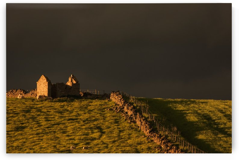 Dark storm clouds over building ruins and a stone fence along a field at sunset;Yorkshire dales england by PacificStock
