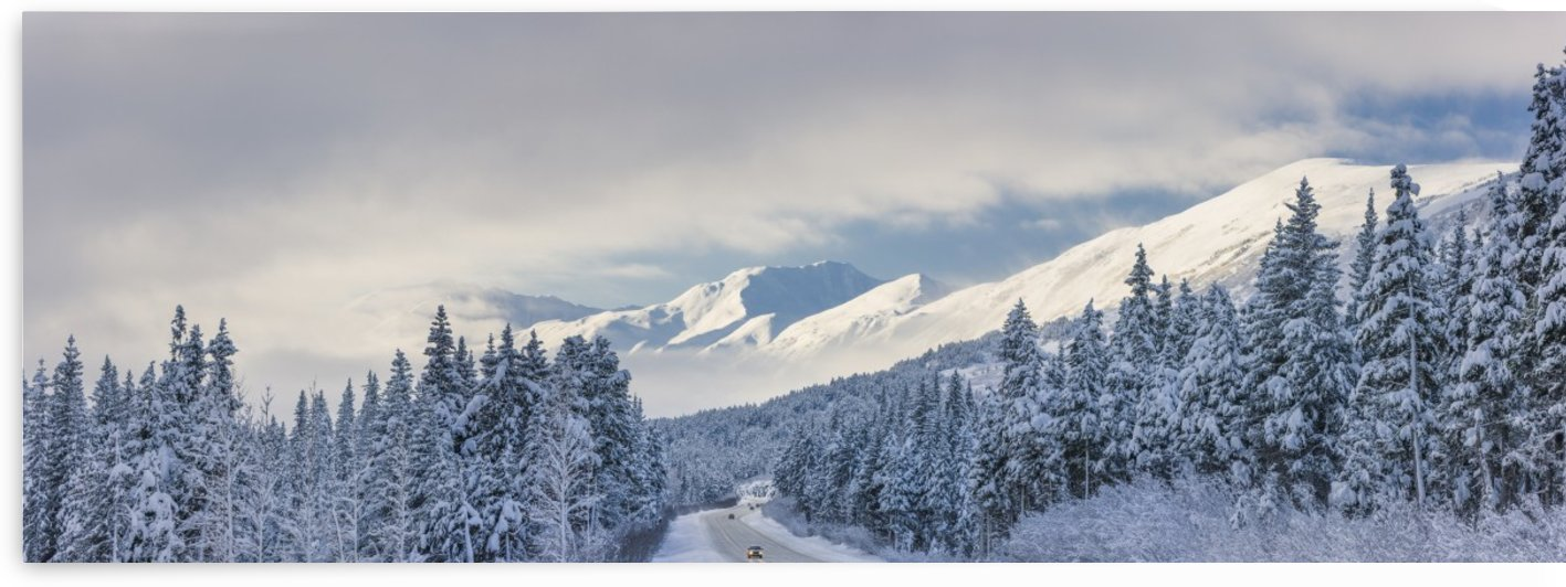 Clouds Clearing Over Seward Highway From The Kenai Mountains Above Turnagain Pass After A Winter Snow Storm, Fresh Snow In The Trees, Early Morning Sun, Turnagain Pass, Chugach National Forest, Southcentral Alaska, Usa. by PacificStock