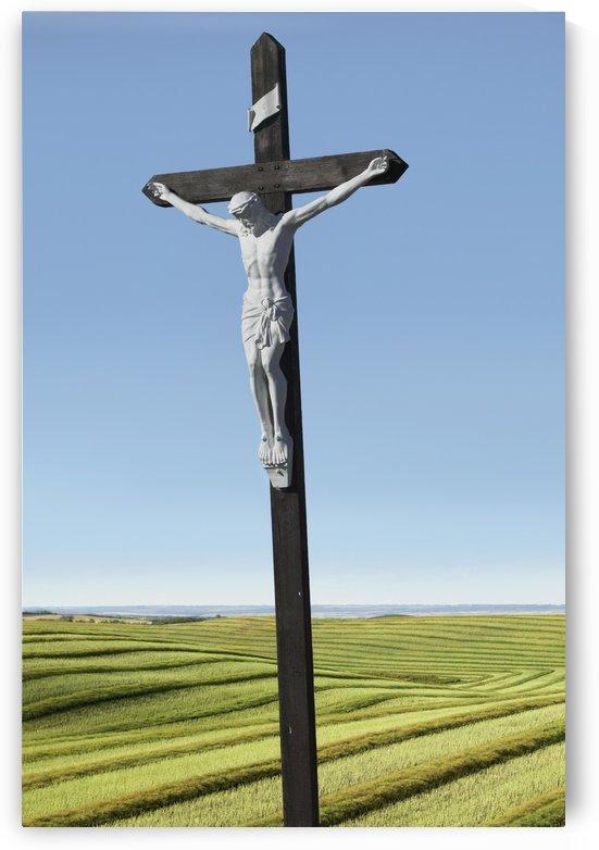 A crucifix on farmland;Saskatchewan canada by PacificStock