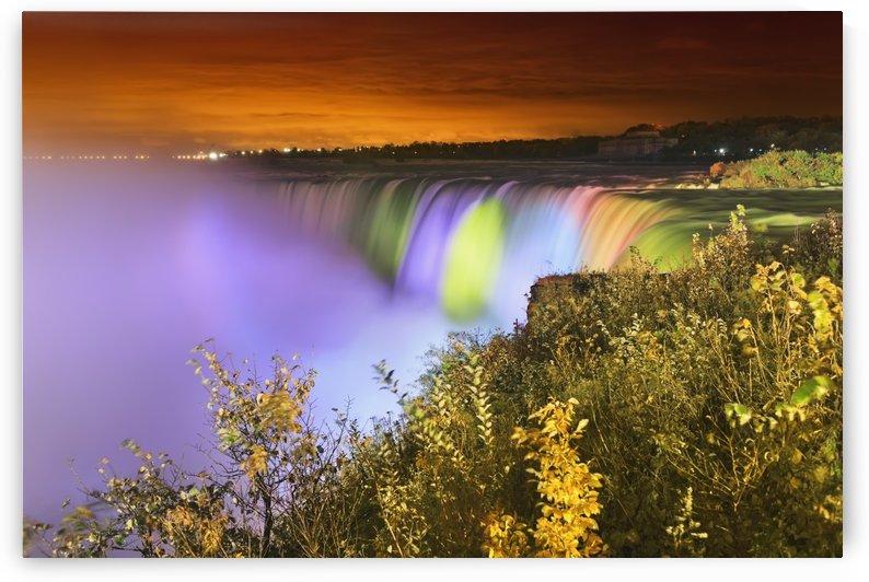 Horseshoe falls lit up at night;Niagara falls ontario canada by PacificStock