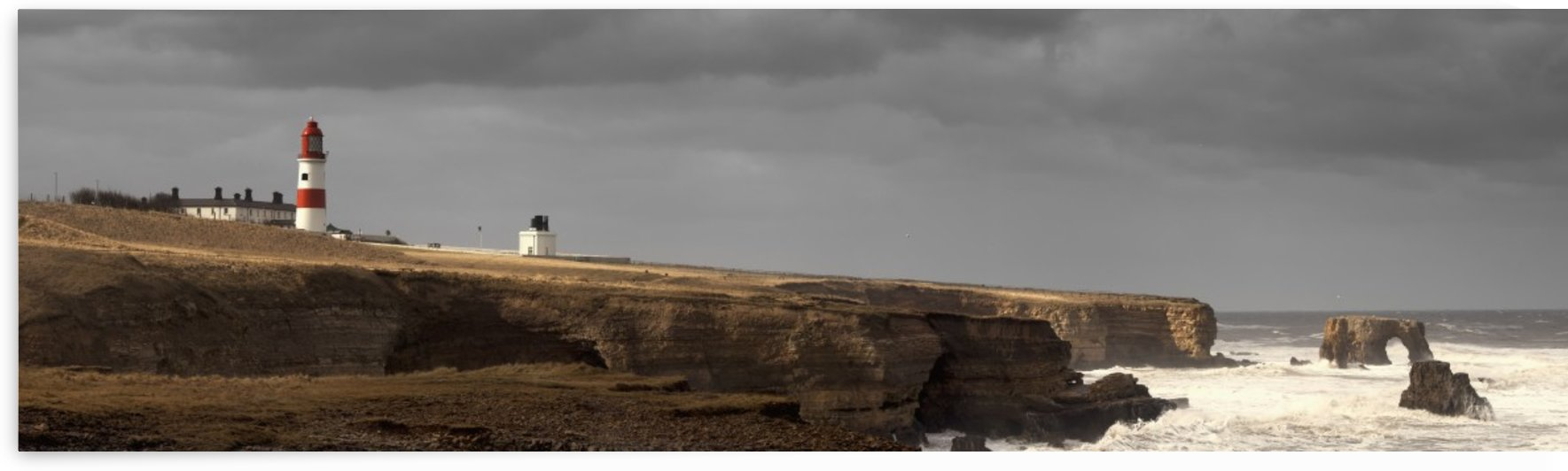 A lighthouse and cliffs along the coastline;South Shields Tyne and Wear England by PacificStock