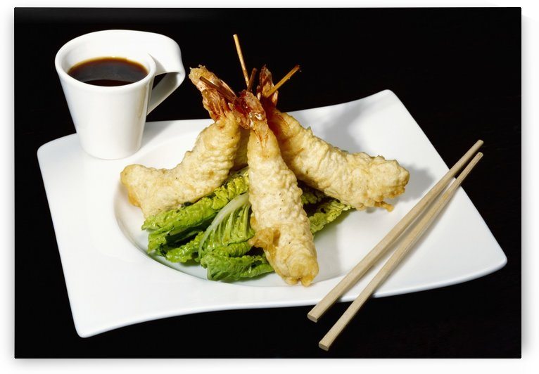 Food - Tempura Prawns and Ponzu Dip. Ingredients include prawns, tempura batter, lime juice, brown sugar, Asian fish sauce, soy sauce, red chilies and cilantro. by PacificStock