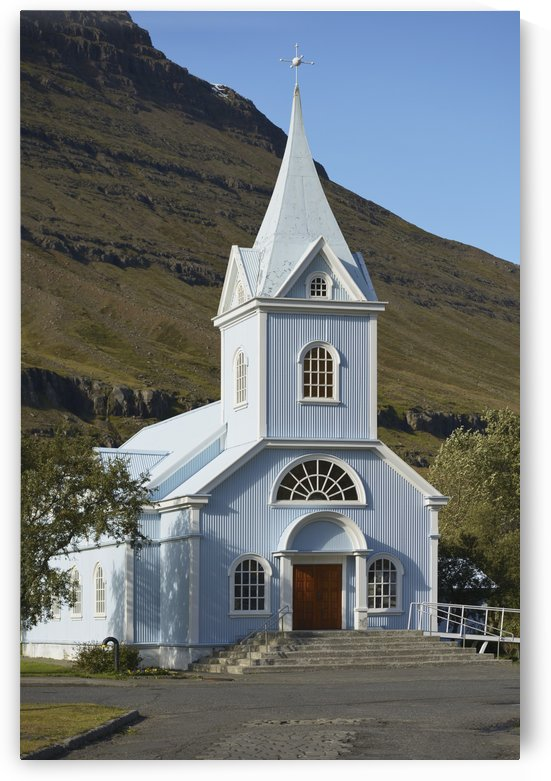 Blue Church Of Seydisfjordur; Seydisfjordur, Eastfjords Of Iceland, Iceland by PacificStock
