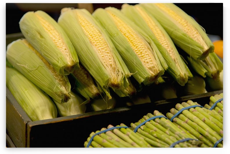Fresh Corn On The Cob And Asparagus; Seattle, Washington, United States Of America by PacificStock