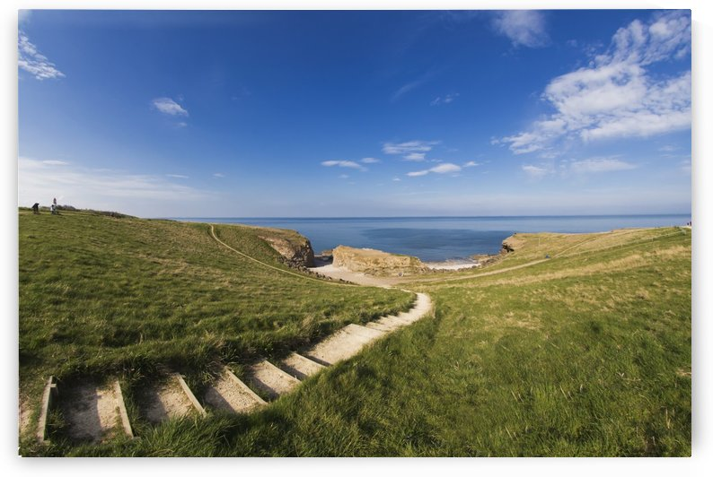 Steps Leading Over The Grassy Slope To The Water's Edge; South Shields, Tyne And Wear, England by PacificStock
