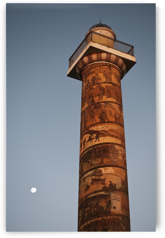 The moon rises near the Astoria Column; Astoria, Oregon, United States of America by PacificStock