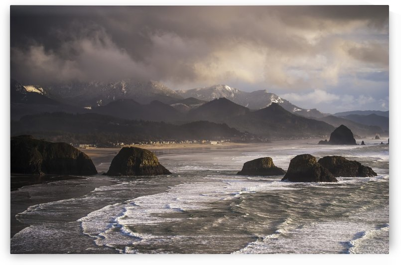 Winter weather comes to the Oregon coast; Cannon Beach, Oregon, United States of America by PacificStock