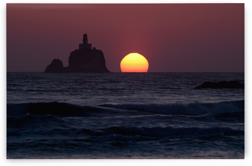 The sunset at Tillamook Rock Lighthouse; Cannon Beach, Oregon, United States of America by PacificStock