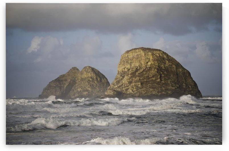Waves break near Three Arch Rocks; Oceanside, Oregon, United States of America by PacificStock