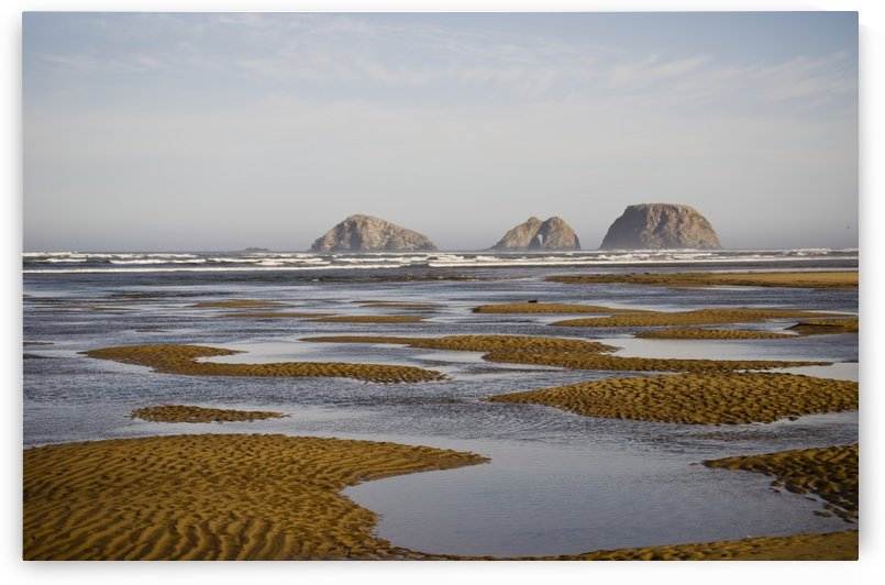 Three Arch Rocks are viewed from the mouth of Netarts Bay; Netarts, Oregon, United States of America by PacificStock