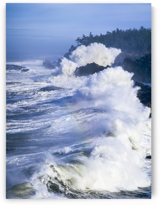 Surf breaks on the rocks; Charleston, Oregon, United States of America by PacificStock