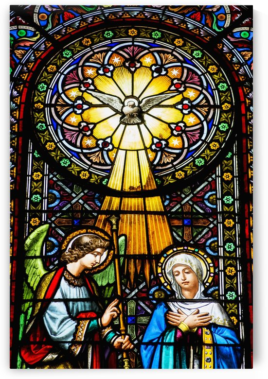 Colourful stained glass windows in the Benedictine Abbey; Montserrat, Catalonia, Spain by PacificStock