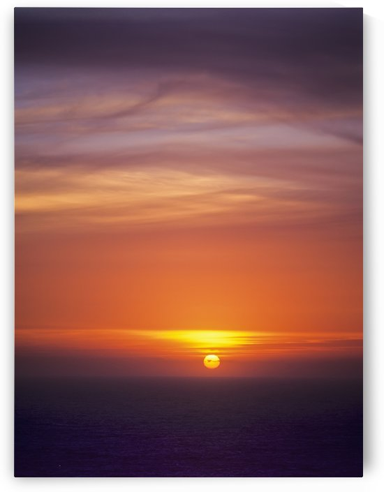 The sun sets over the Pacific Ocean; Florence, Oregon, United States of America by PacificStock