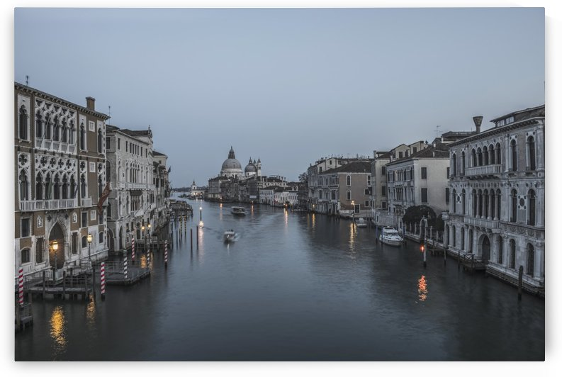 A canal at dusk with the Salute church in the distance; Venice, Veneto, Italy by PacificStock