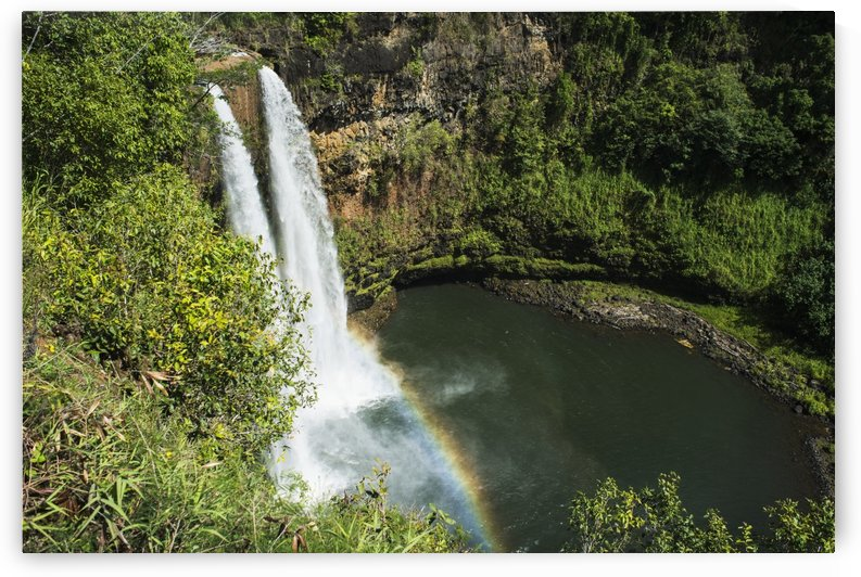 A rainbow adorns Wailua Falls; Kauai, Hawaii, United States of America by PacificStock