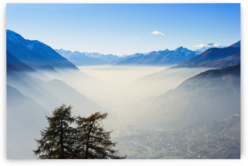 Smog in Aosta Valley and Mont Blanc; Italy by PacificStock
