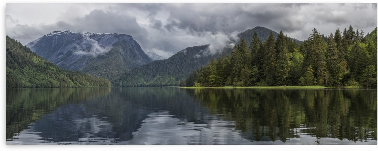 Panoramic view looking into the estuary of the Khutzeymateen Grizzly Bear Sanctuary; British Columbia, Canada by PacificStock