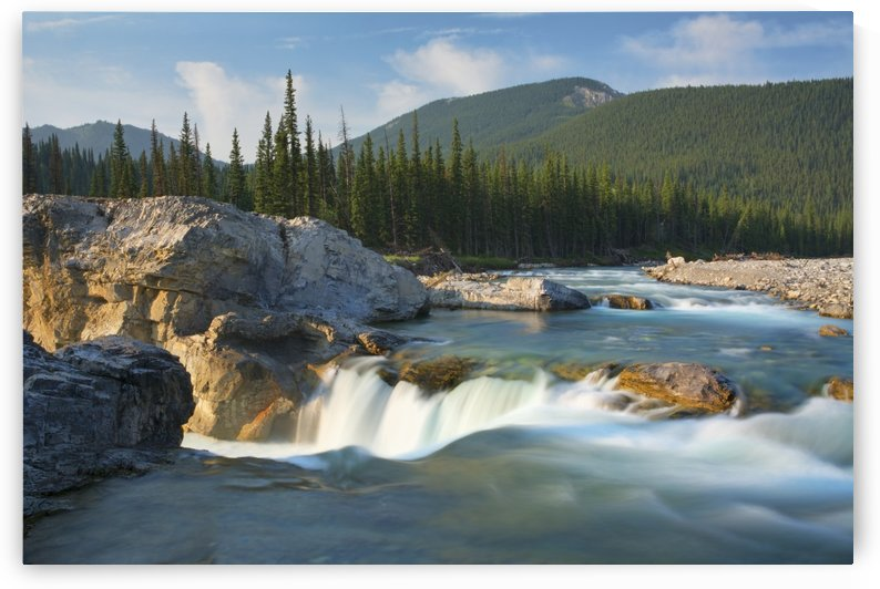 River and waterfall in morning light; Bragg Creek, Alberta, Canada by PacificStock
