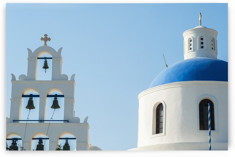 Church domed roof and bells; Oia, Santorini, Greece by PacificStock