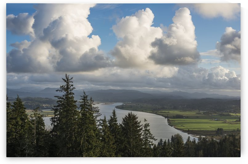 Clouds drift over Youngs Bay; Astoria, Oregon, United States of America by PacificStock
