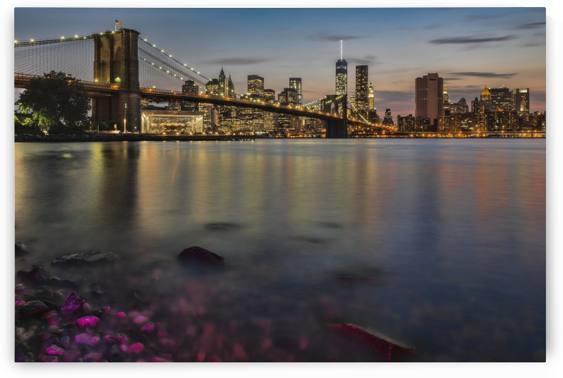 Lower Manhattan at twilight with the Brooklyn Bridge, Brooklyn Bridge Park; Brooklyn, New York, United States of America by PacificStock