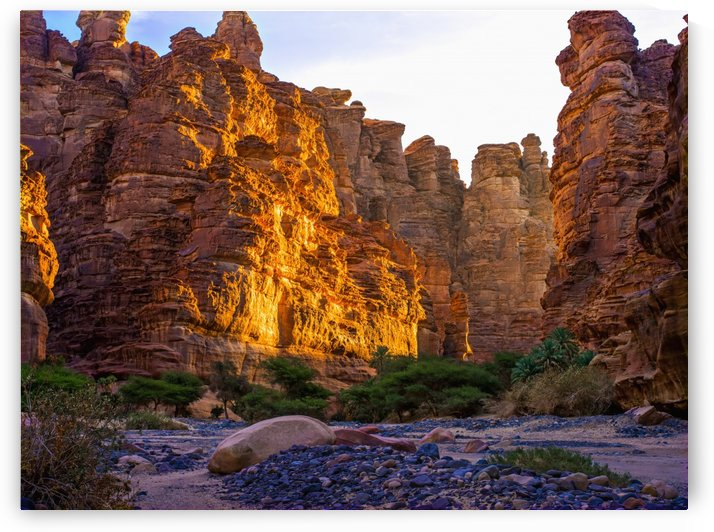 Rock cliffs and valley, near Tabuk; Saudi Arabia by PacificStock
