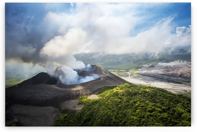 Aerial view of Yasure Volcano; Tanna Island, Vanuatu by PacificStock