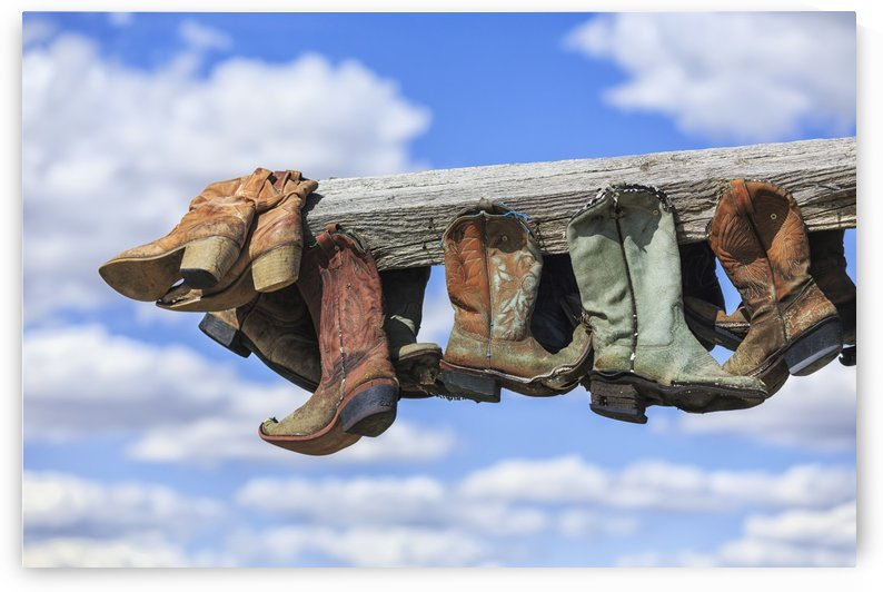 Old cowboy boots hanging in memory of John Booth, Great Sandhills, near Sceptre; Saskatchewan, Canada by PacificStock