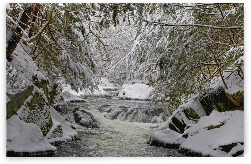 Water flowing in a river with snow covered shoreline; Fulford, Quebec, Canada by PacificStock