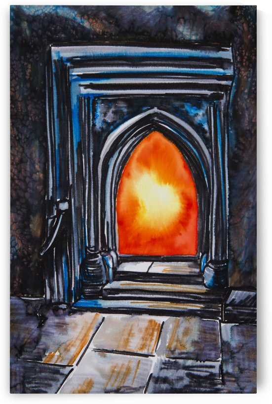 Painting of a glowing orange fire in a fireplace by PacificStock