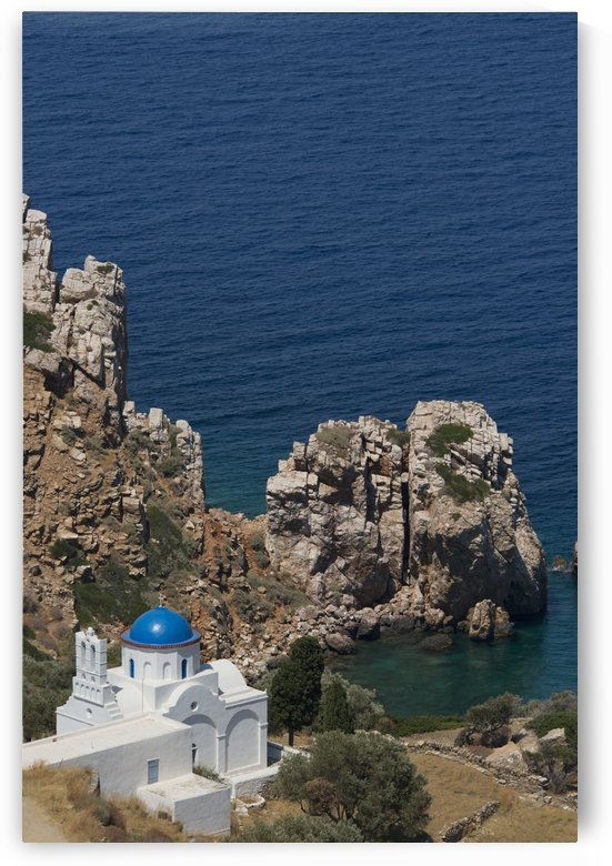 The blue domed church at the water's edge; Panayia Poulati, Sifnos, Cyclades, Greek Islands, Greece by PacificStock