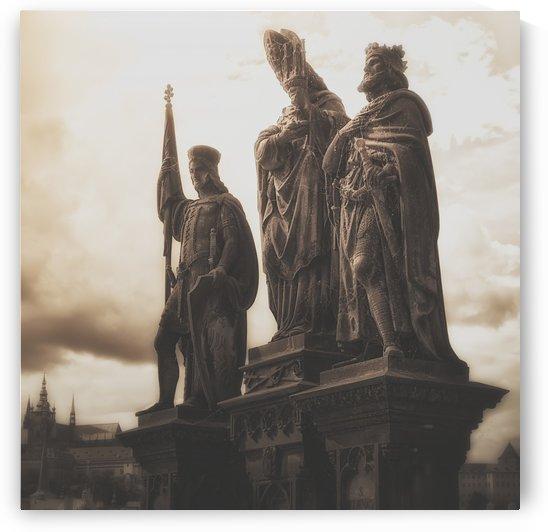 Statues along Karl Bridge; Prague, Czech Republic by PacificStock